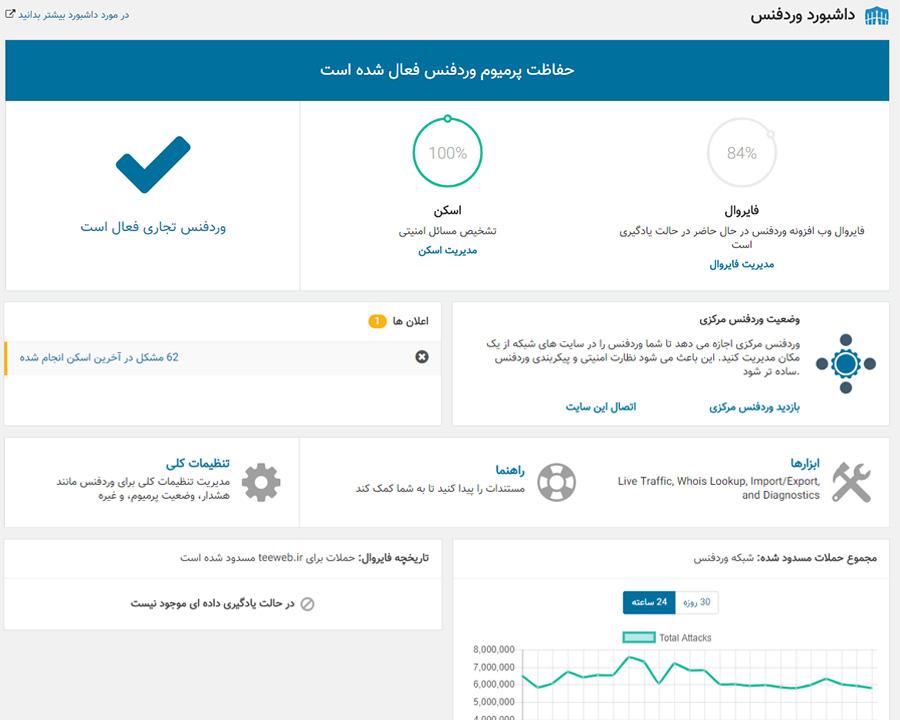 نسخه پریمیوم افزونه wordfence بصورت فارسی و راست چین